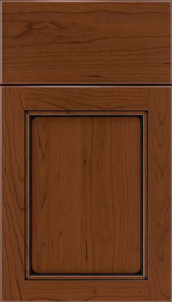 Templeton Cherry recessed panel cabinet door in Sienna with Black glaze