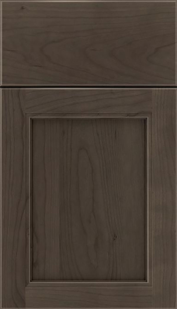 Templeton Cherry recessed panel cabinet door in Thunder