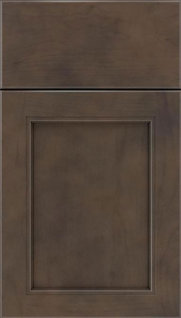 Templeton Cherry recessed panel cabinet door in Thunder with Black glaze