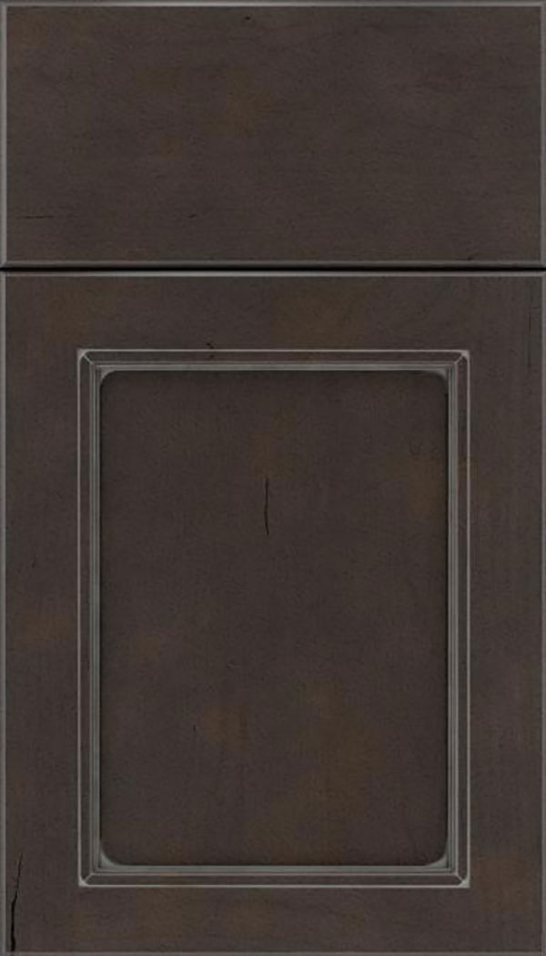 Templeton Cherry recessed panel cabinet door in Thunder with Pewter glaze