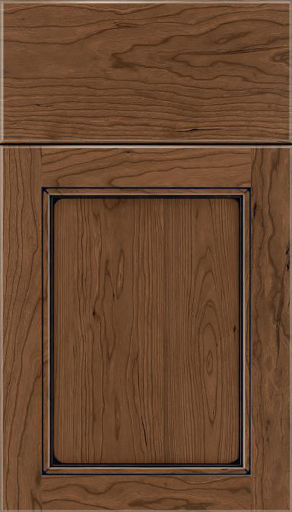 Templeton Cherry recessed panel cabinet door in Toffee with Black glaze