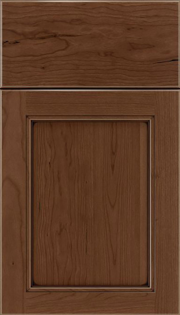 Templeton Cherry recessed panel cabinet door in Toffee with Mocha glaze
