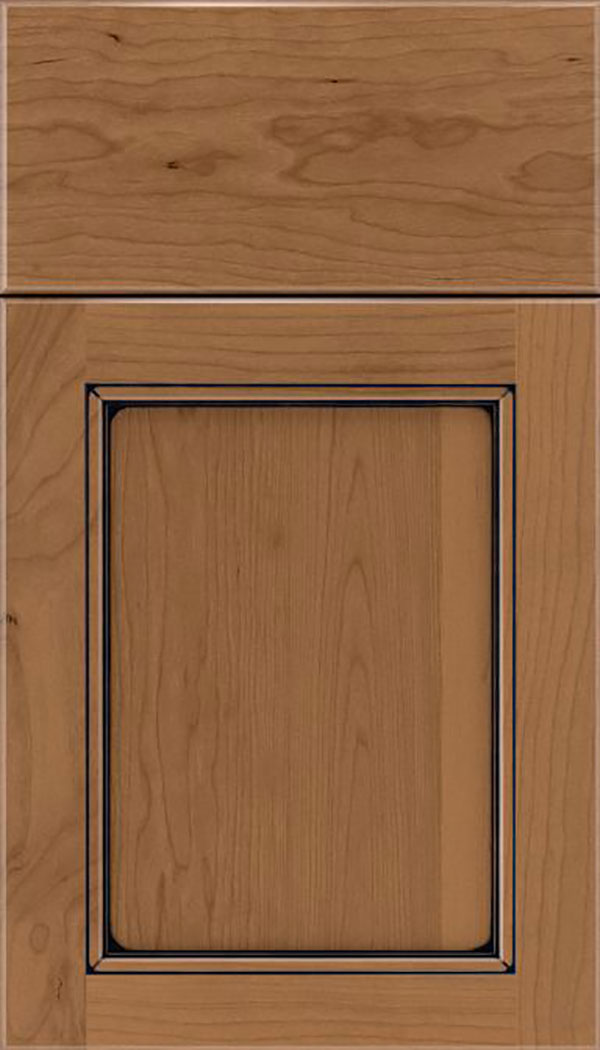Templeton Cherry recessed panel cabinet door in Tuscan with Black glaze