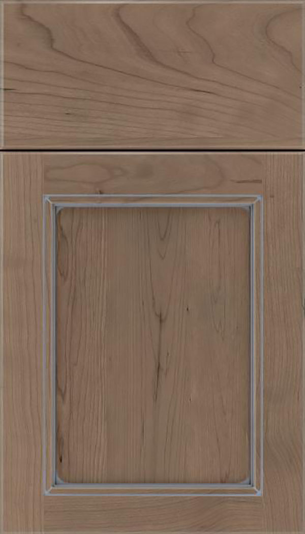 Templeton Cherry recessed panel cabinet door in Winter with Pewter glaze