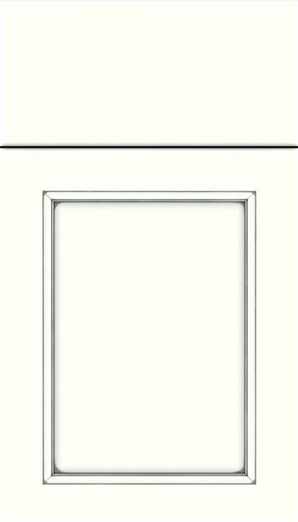 Templeton Maple recessed panel cabinet door in Alabaster with Pewter glaze