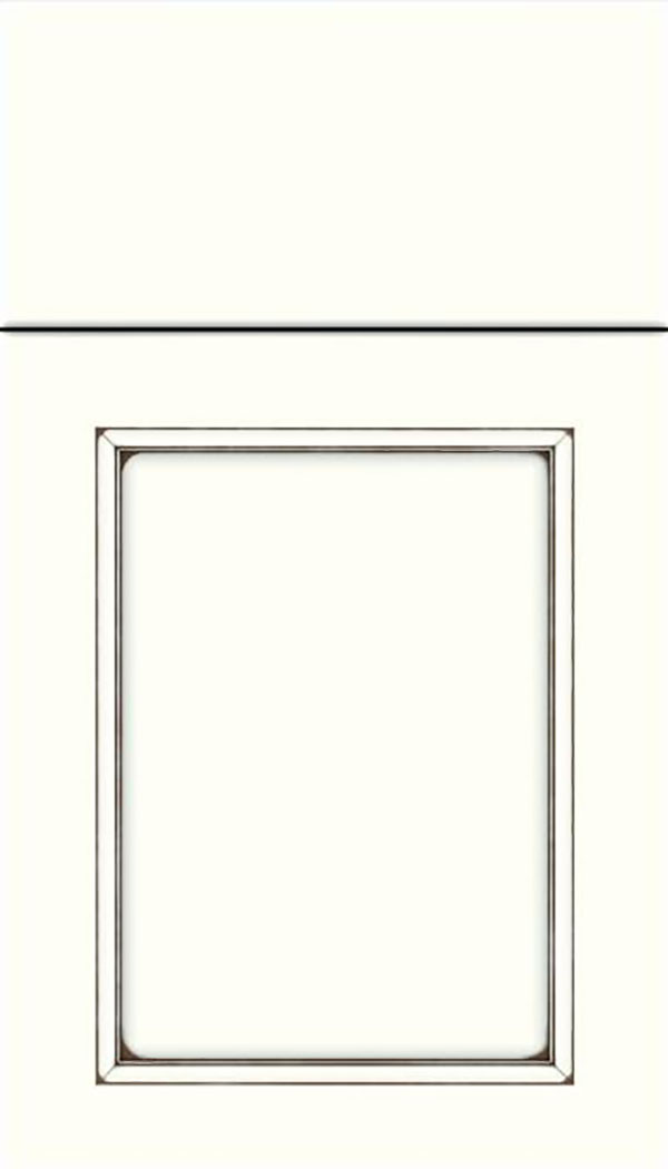 Templeton Maple recessed panel cabinet door in Alabaster with Smoke glaze