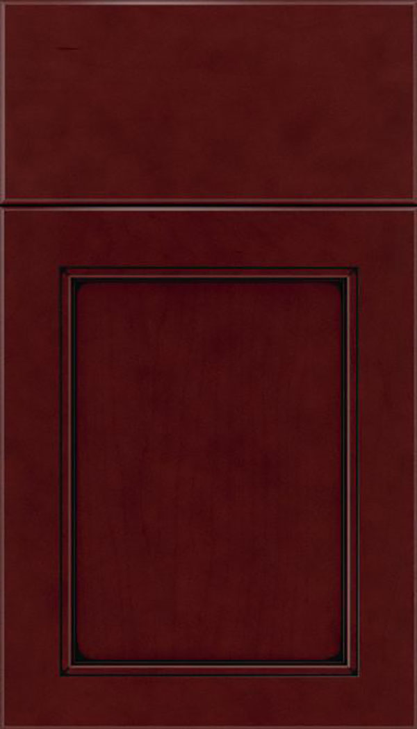Templeton Maple recessed panel cabinet door in Bordeaux with Black glaze