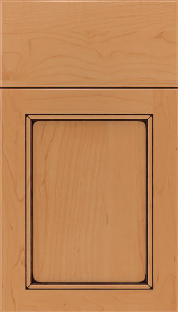 Templeton Maple recessed panel cabinet door in Ginger with Black glaze