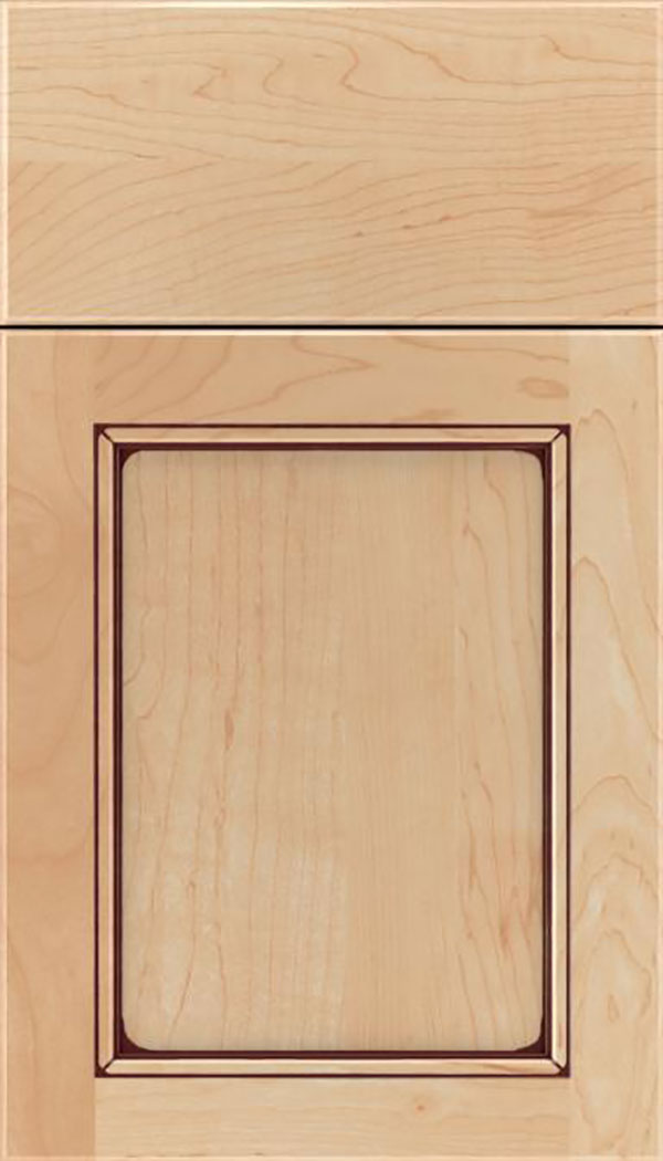 Templeton Maple recessed panel cabinet door in Natural with Mocha glaze