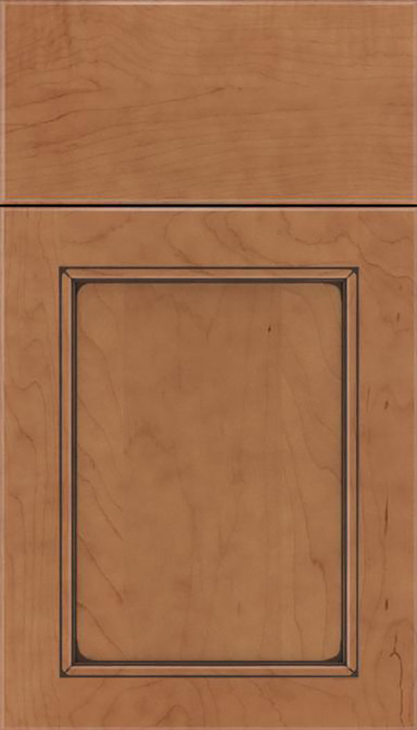 Templeton Maple recessed panel cabinet door in Nutmeg with Mocha glaze