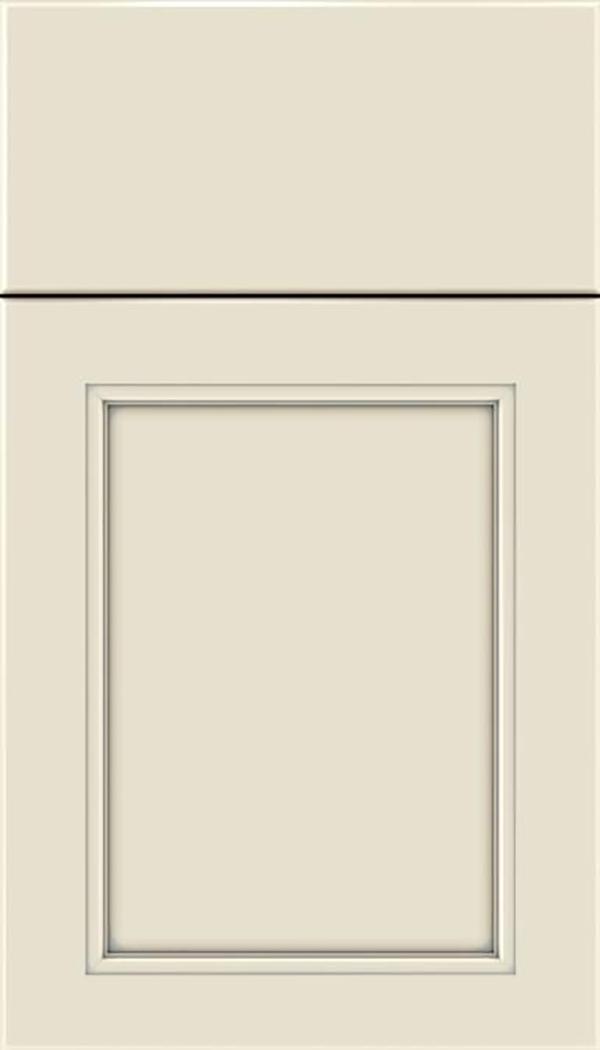 Templeton Maple recessed panel cabinet door in Seashell with Pewter glaze