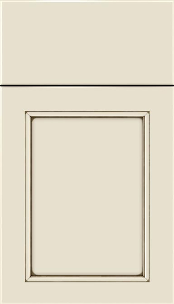 Templeton Maple recessed panel cabinet door in Seashell with Smoke glaze