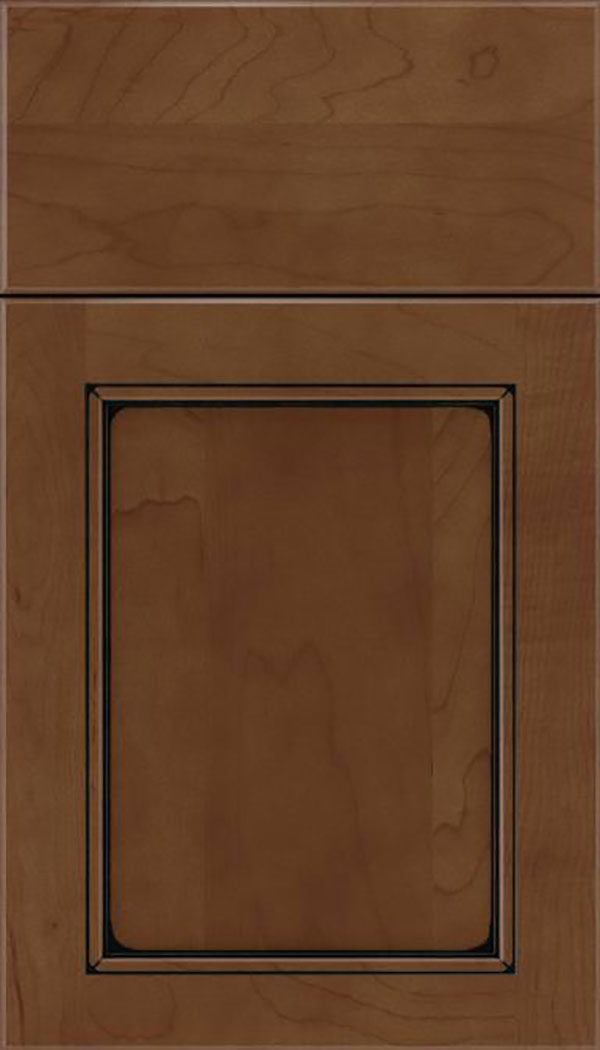 Templeton Maple recessed panel cabinet door in Sienna with Black glaze