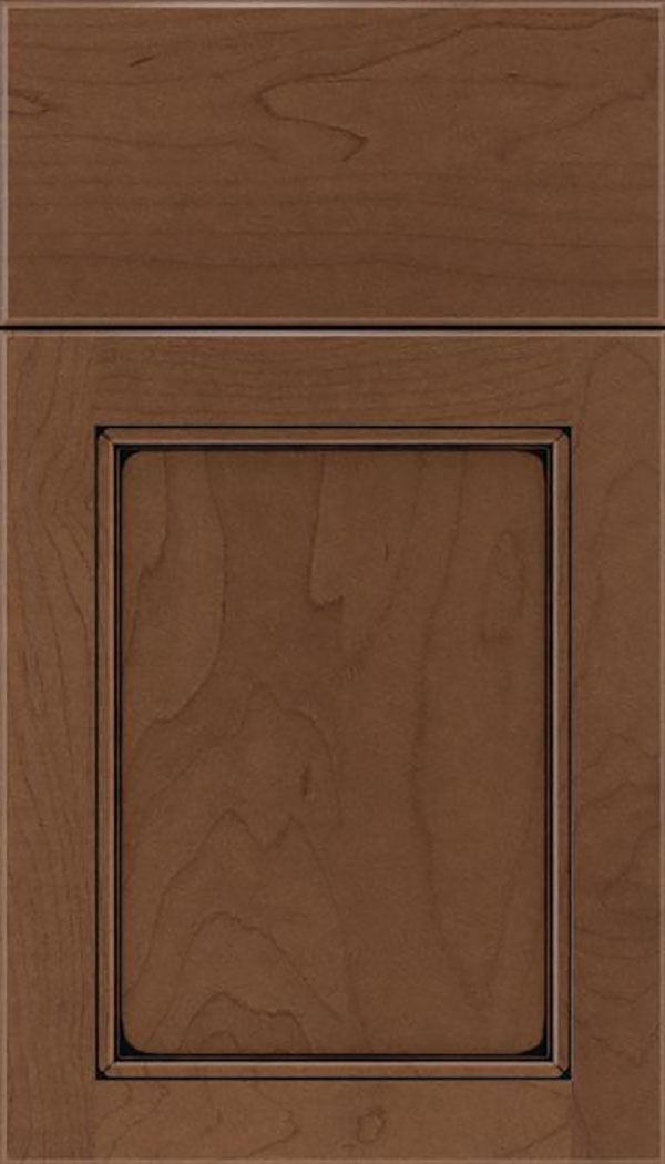 Templeton Maple recessed panel cabinet door in Toffee with Black glaze