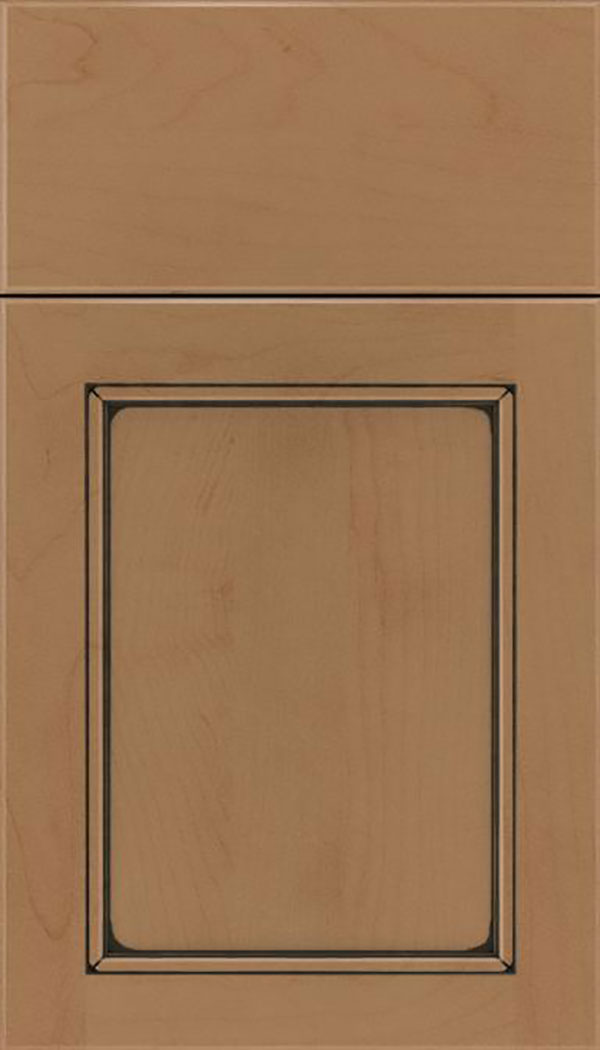 Templeton Maple recessed panel cabinet door in Tuscan with Black glaze