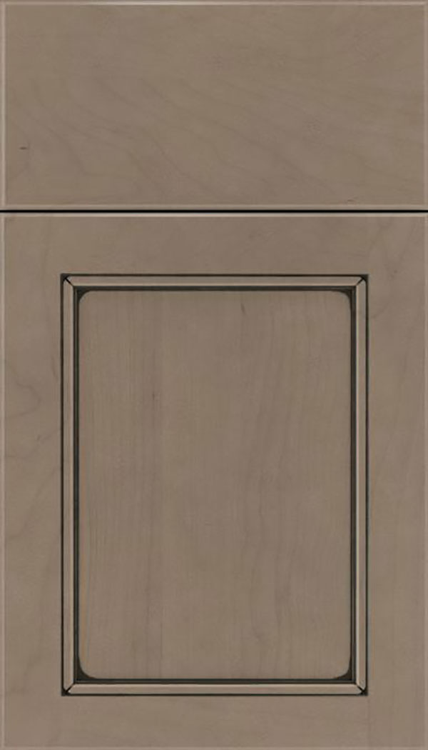 Templeton Maple recessed panel cabinet door in Winter with Black glaze