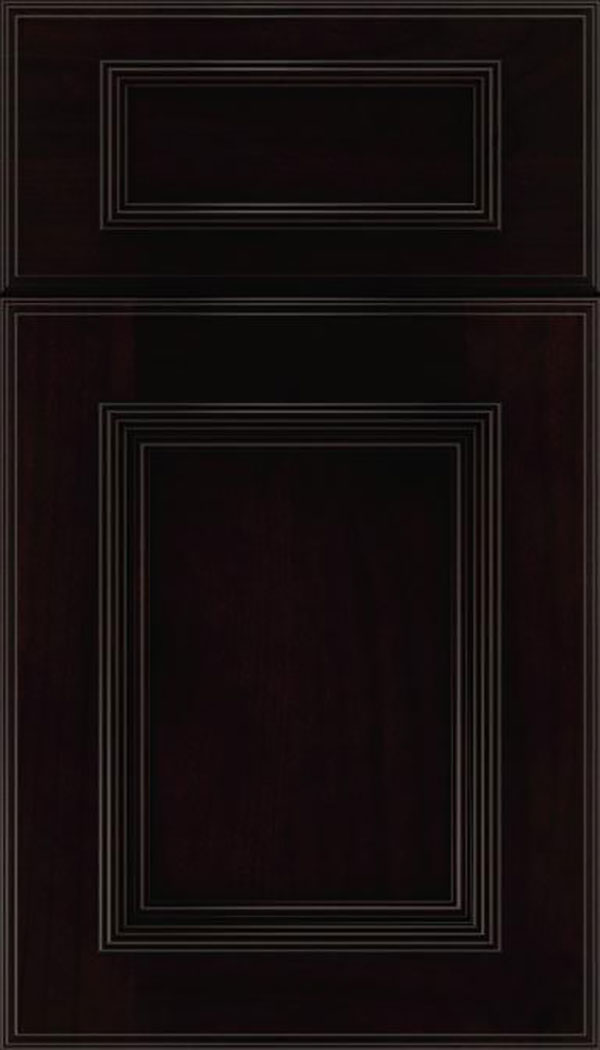 Wellington 5pc Alder flat panel cabinet door in Espresso with Black glaze