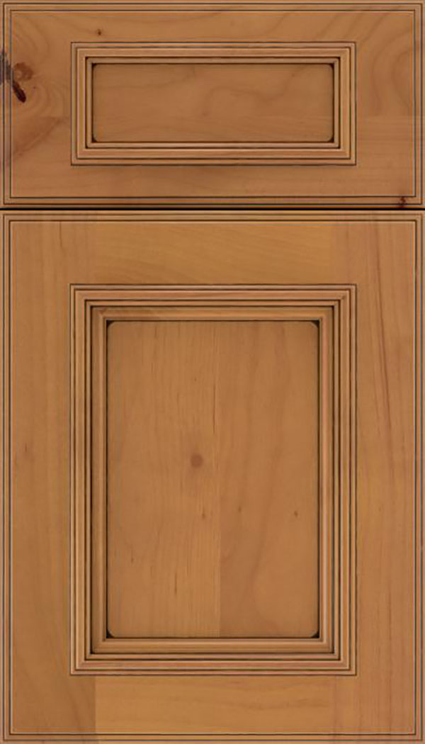 Wellington 5pc Alder flat panel cabinet door in Ginger with Black glaze