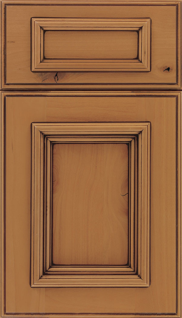 Wellington 5-Piece Alder flat panel cabinet door in Ginger with Mocha glaze