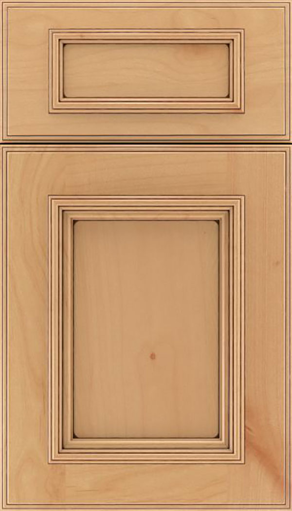 Wellington 5pc Alder flat panel cabinet door in Natural with Mocha glaze