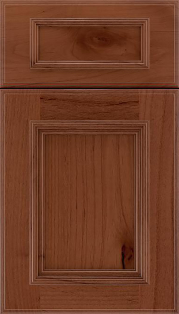Wellington 5pc Alder flat panel cabinet door in Russet