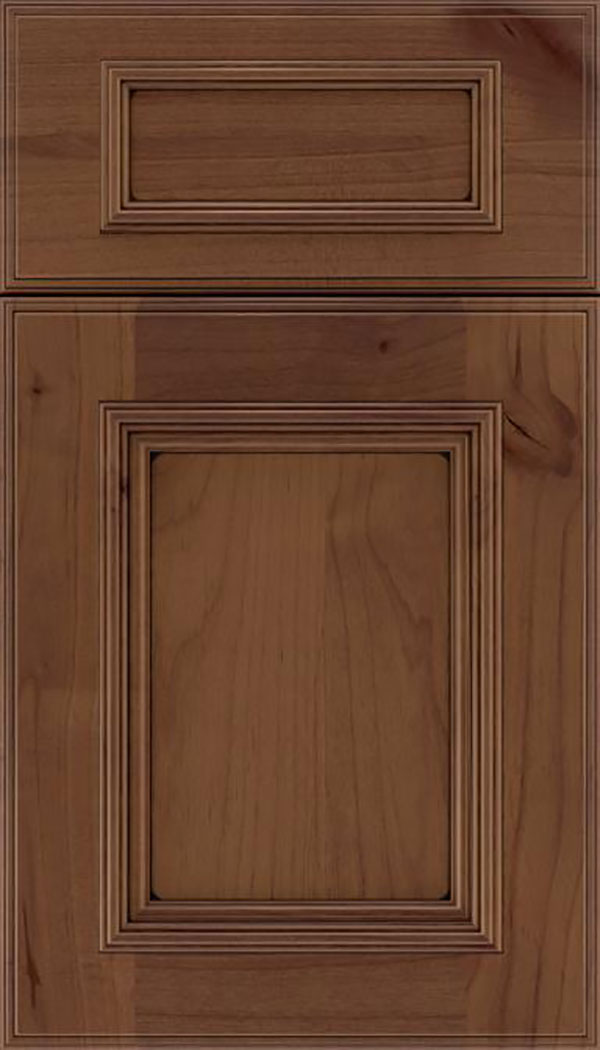 Wellington 5pc Alder flat panel cabinet door in Sienna with Black glaze