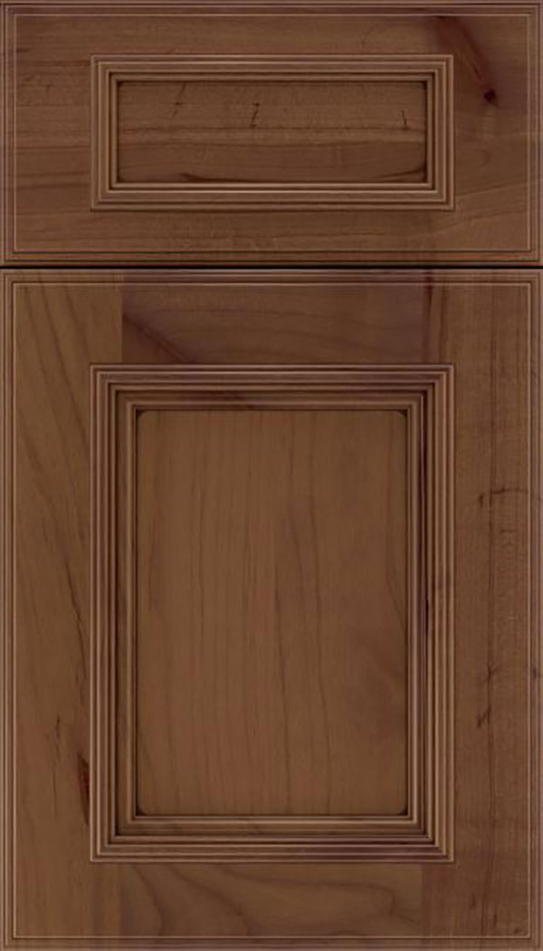 Wellington 5pc Alder flat panel cabinet door in Sienna with Mocha glaze