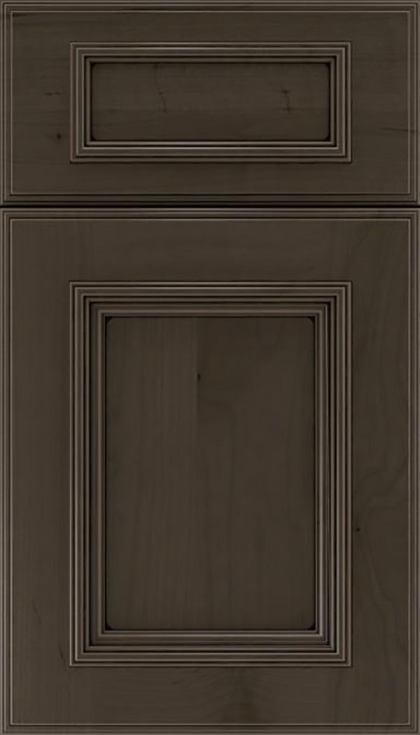 Wellington 5pc Alder flat panel cabinet door in Thunder with Black glaze