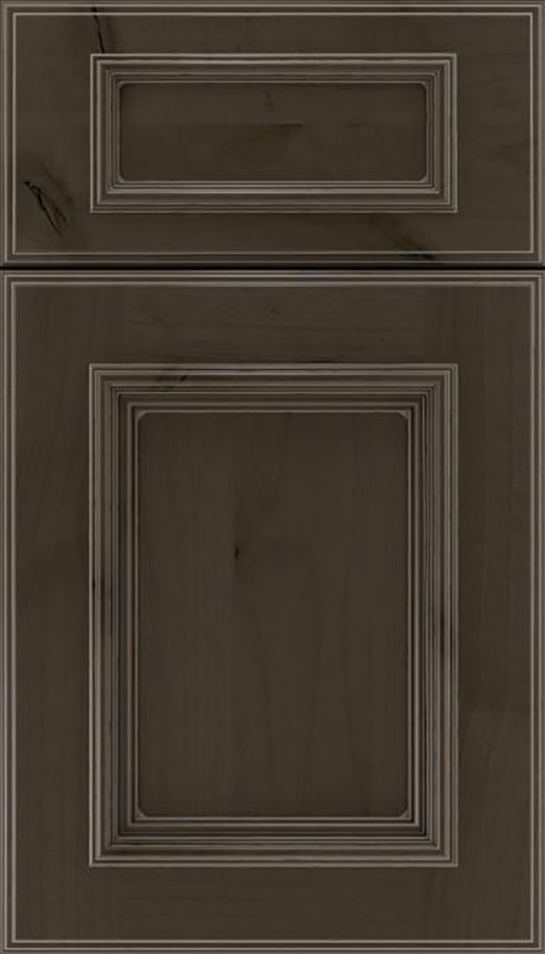 Wellington 5pc Alder flat panel cabinet door in Thunder with Pewter glaze