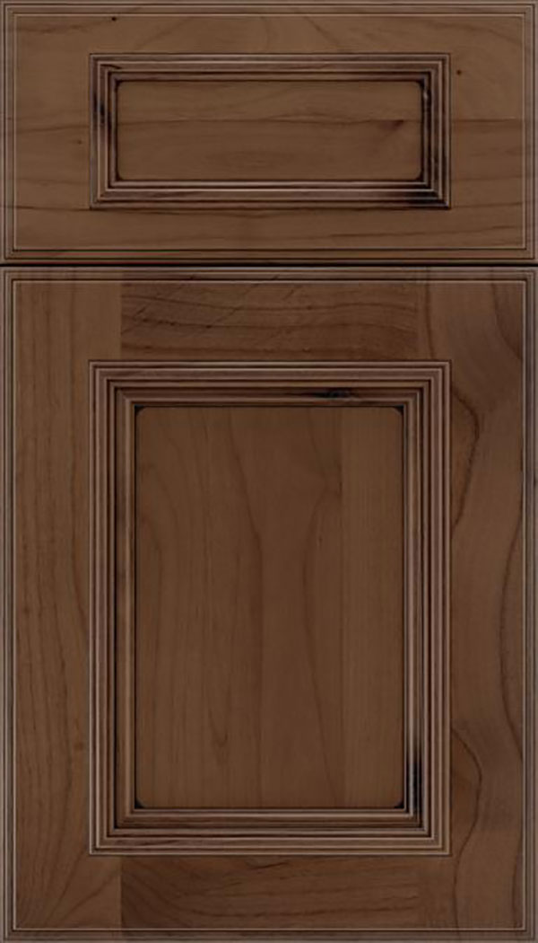 Wellington 5pc Alder flat panel cabinet door in Toffee with Black glaze