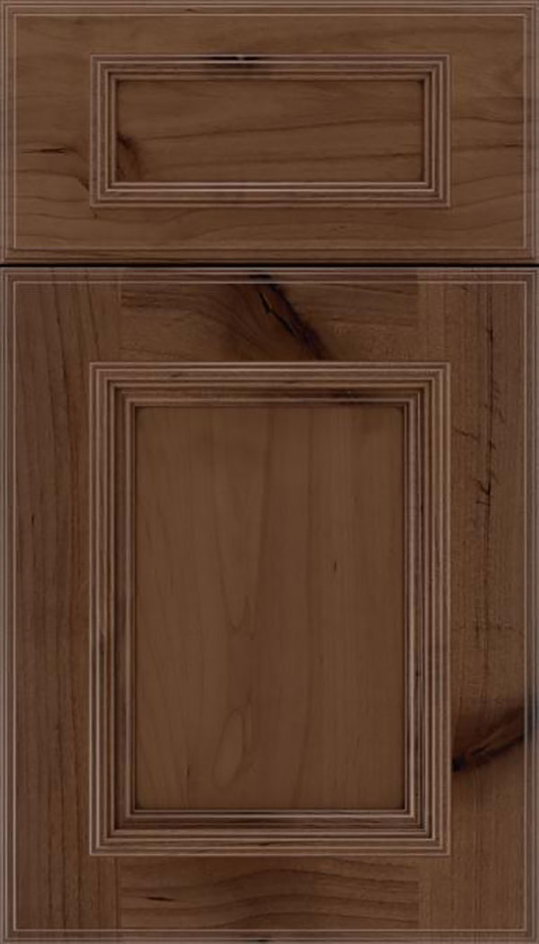 Wellington 5pc Alder flat panel cabinet door in Toffee with Mocha glaze