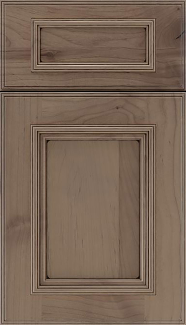 Wellington 5pc Alder flat panel cabinet door in Winter with Black glaze