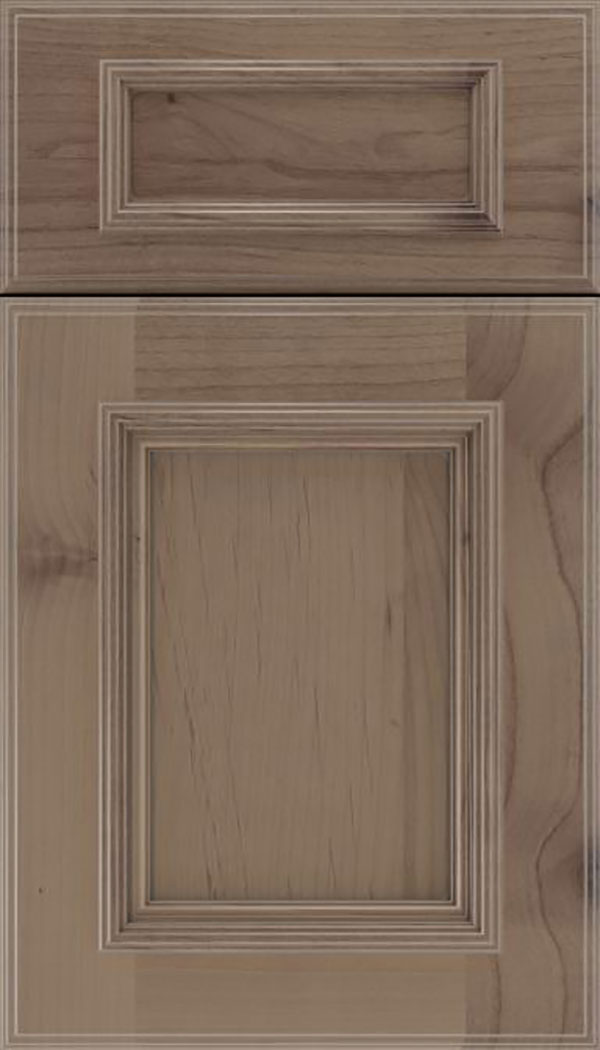 Wellington 5pc Alder flat panel cabinet door in Winter with Pewter glaze