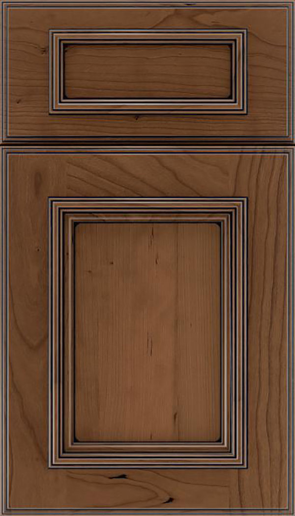 Wellington 5pc Cherry flat panel cabinet door in Toffee with Black glaze