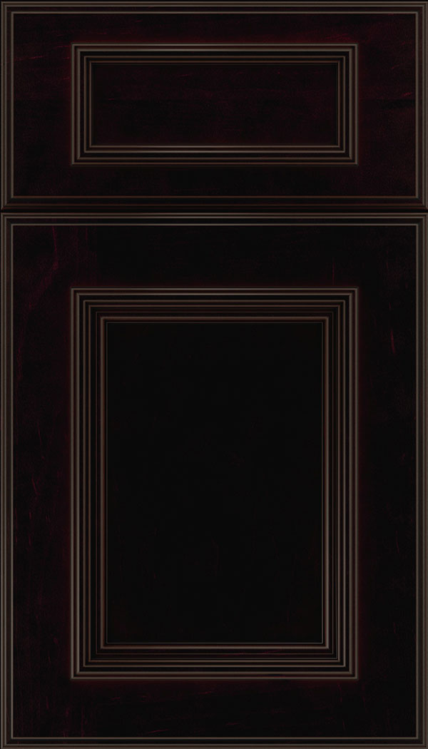 Wellington 5-Piece Maple flat panel cabinet door in Espresso with Black glaze