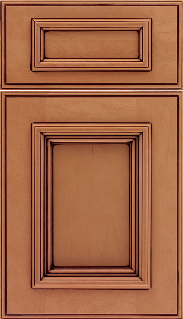Wellington 5pc Maple flat panel cabinet door in Ginger with Mocha glaze