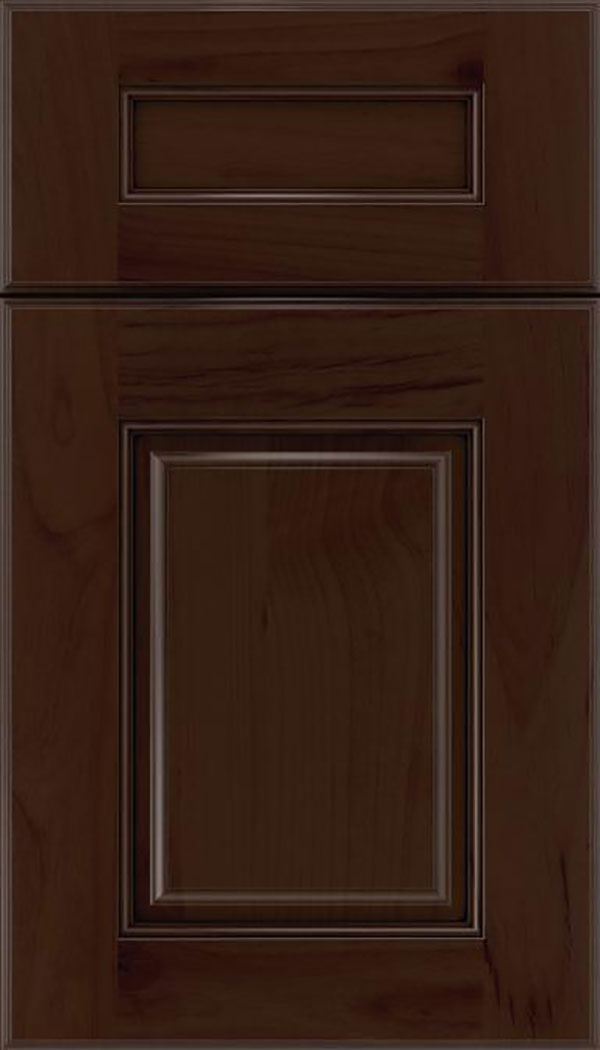 Whittington 5pc Alder raised panel cabinet door in Cappuccino with Black glaze