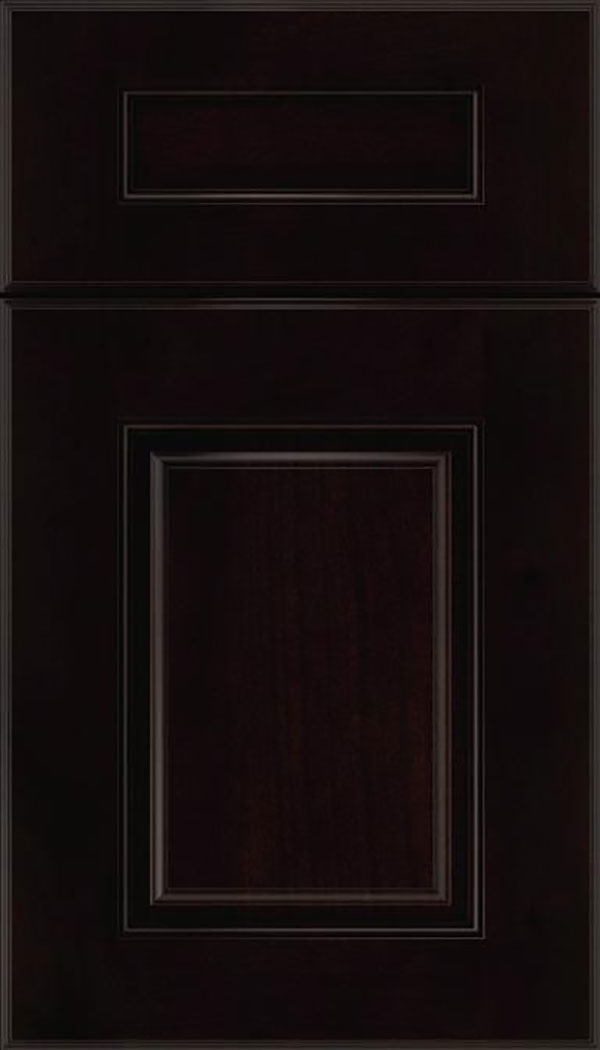 Whittington 5pc Alder raised panel cabinet door in Espresso with Black glaze