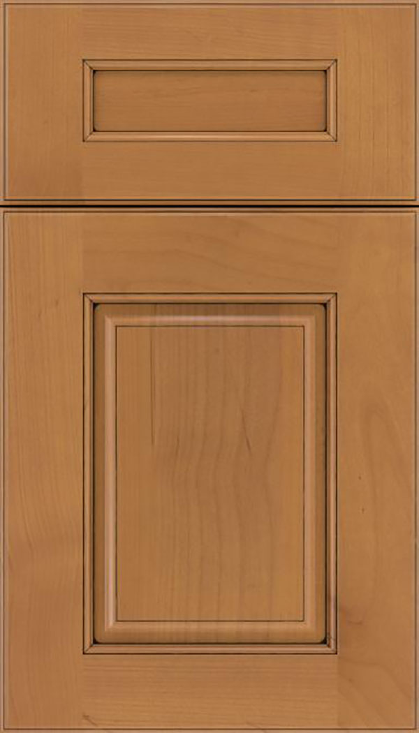 Whittington 5pc Alder raised panel cabinet door in Ginger with Black glaze