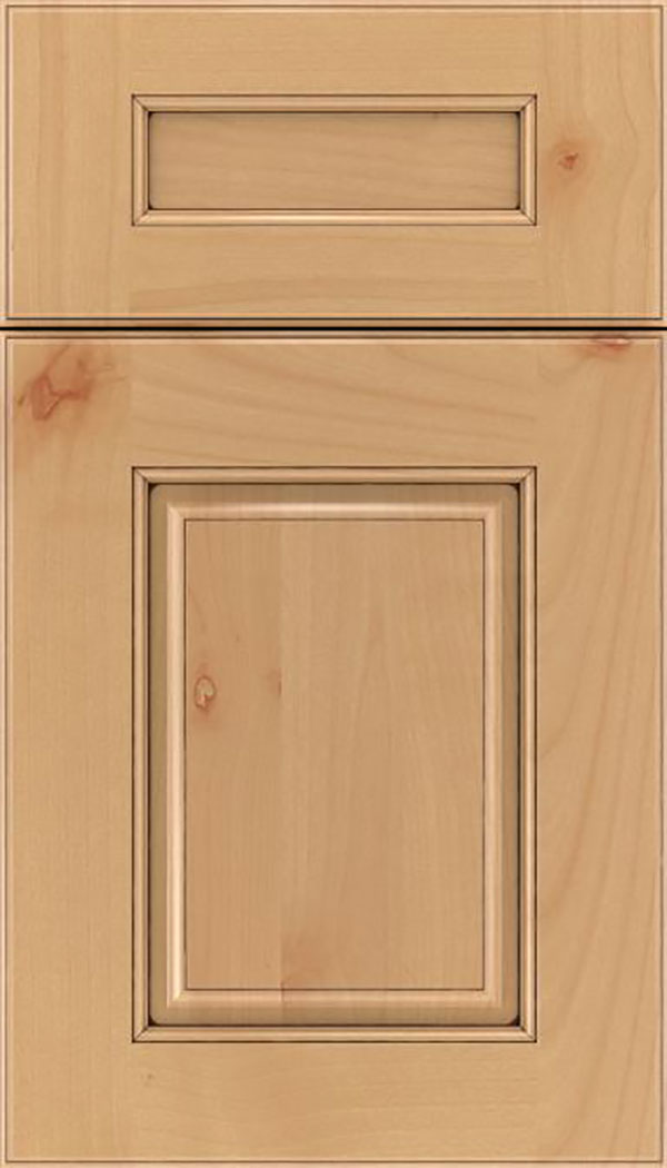 Whittington 5pc Alder raised panel cabinet door in Natural with Mocha glaze