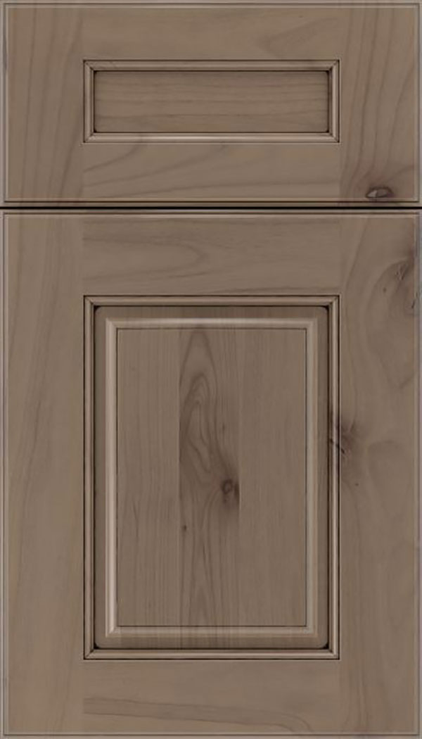 Whittington 5pc Alder raised panel cabinet door in Winter with Black glaze