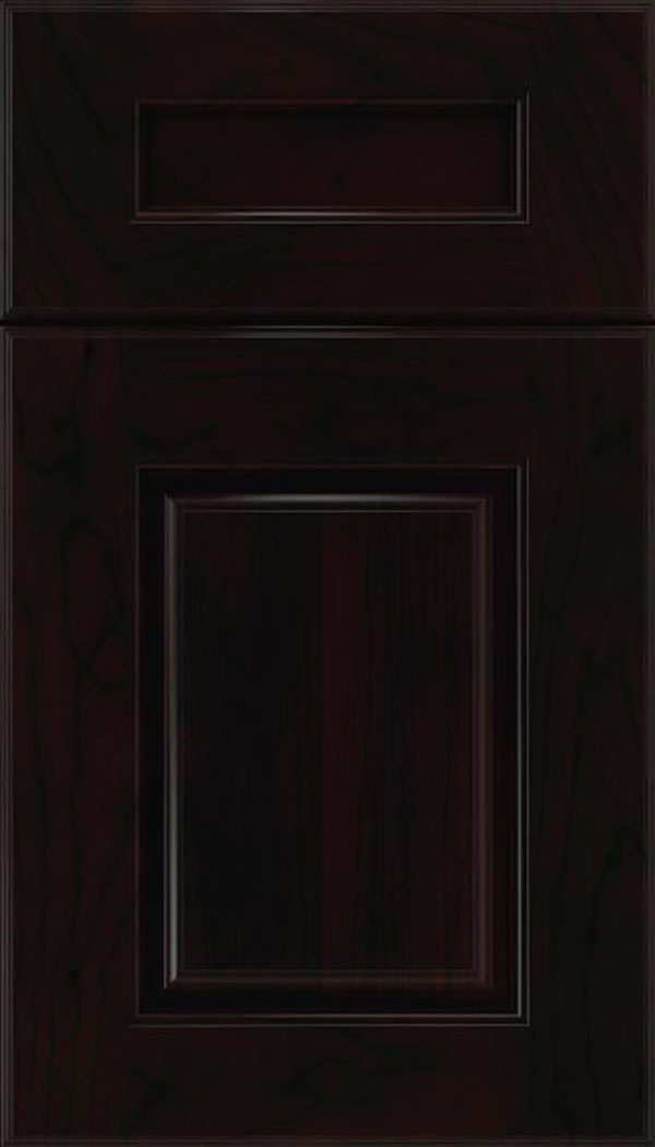 Whittington 5pc Cherry raised panel cabinet door in Espresso with Black glaze
