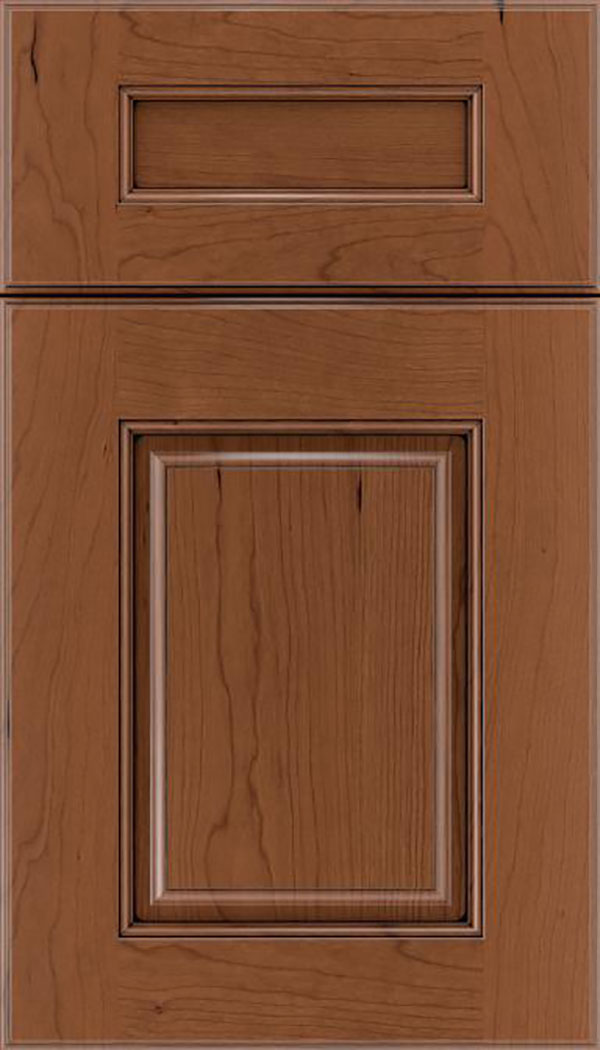 Whittington 5pc Cherry raised panel cabinet door in Nutmeg with Black glaze