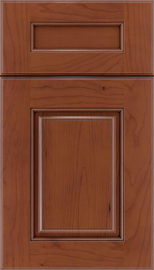 Whittington 5pc Cherry raised panel cabinet door in Russet with Mocha glaze