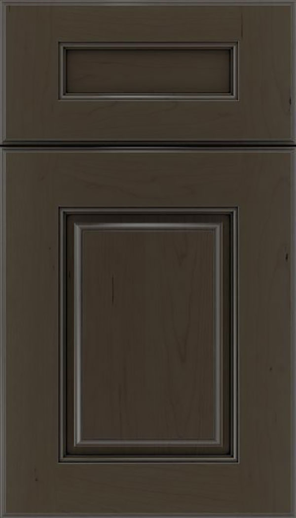 Whittington 5pc Cherry raised panel cabinet door in Thunder with Black glaze