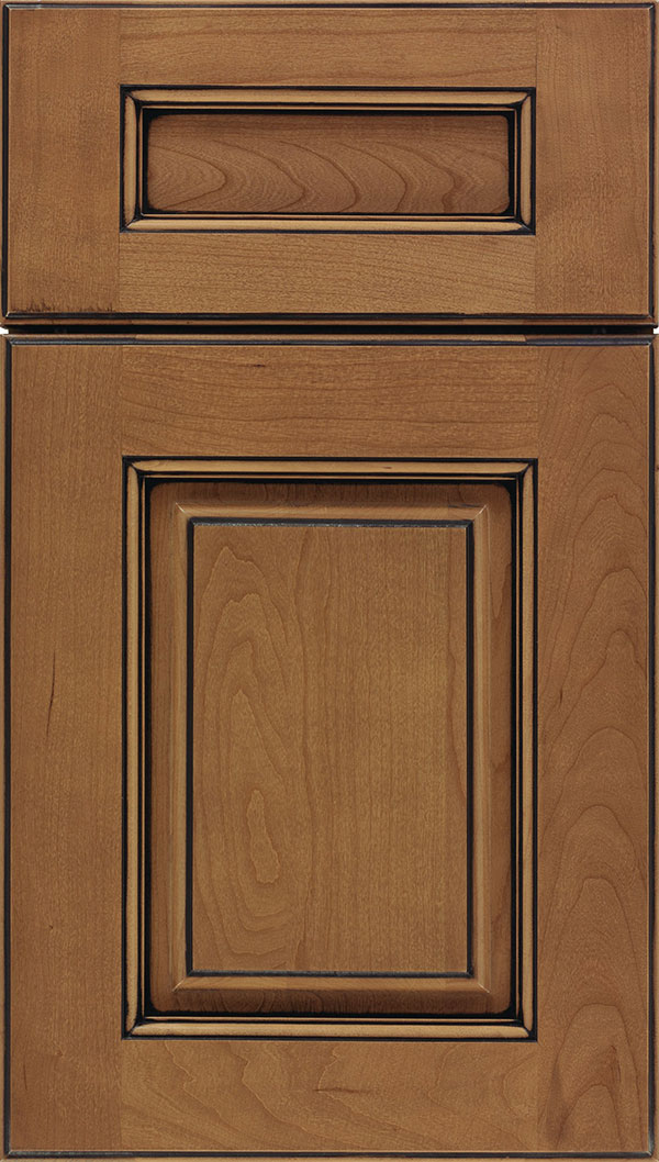 Whittington 5pc Cherry raised panel cabinet door in Tuscan with Black glaze