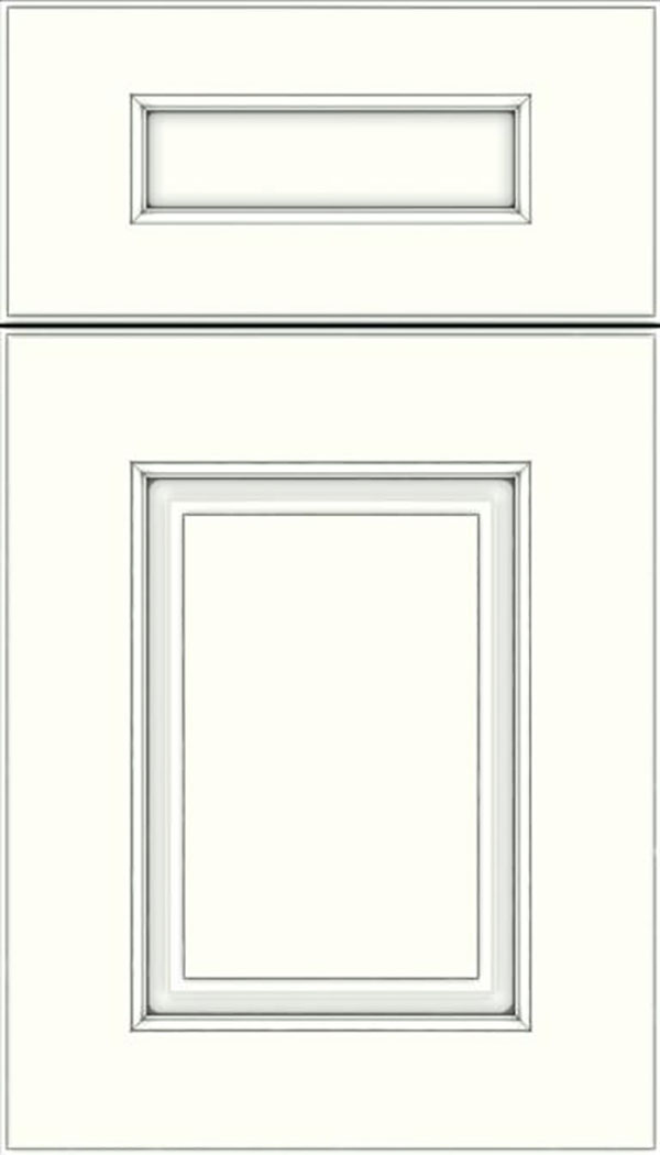 Whittington 5pc Maple raised panel cabinet door in Alabaster with Pewter glaze