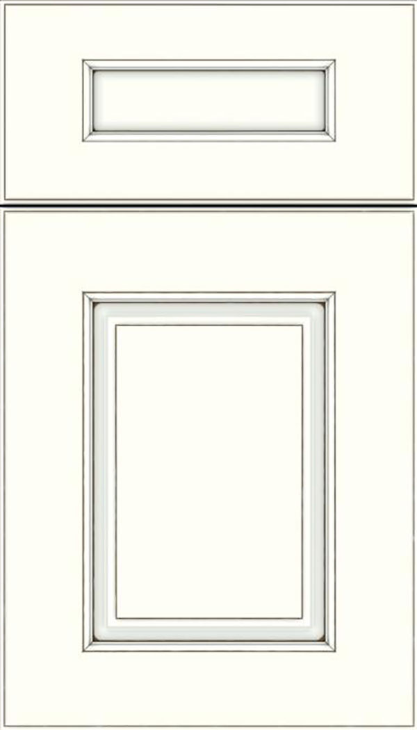 Whittington 5pc Maple raised panel cabinet door in Alabaster with Smoke glaze