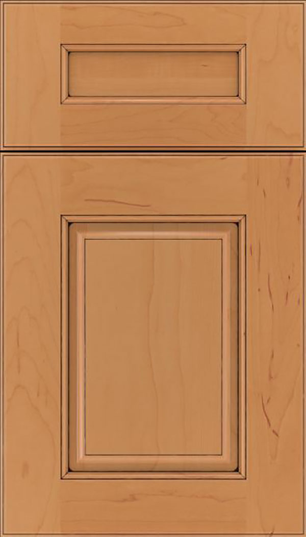 Whittington 5pc Maple raised panel cabinet door in Ginger with Black glaze