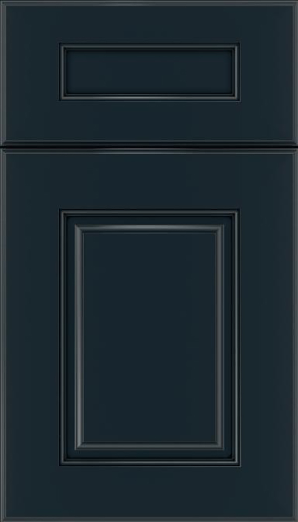 Whittington 5pc Maple raised panel cabinet door in Gunmetal Blue with Black glaze
